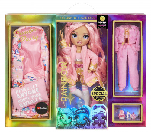 Brianna comes with 2 complete doll outfits with doll clothes, doll shoes and slumber party doll accessories in her signature bubblegum pink color. Dress her in each look, then mix & match the trendsetting fashions and sleepover accessories to spark imagination and storytelling fun. Brianna comes with all her sleepover essential play pieces including cozy sleeping bag that she can slide into, pillow with embroidered catch phrase, bathrobe, playful teddy bear slippers and eye mask. This playset will give kids endless joy and imaginative storytelling entertainment. Brianna loves bubblegum and all things pink. She is energetic, happy go lucky, bubbly, and is just as animated like her passion for animation. She comes wearing a pink terrycloth bathrobe with satin printed trim, printed knit tank, satin printed shorts, knee high socks, bear shaped slippers, eye mask and pink pearl earrings. Her second outfit is a pink velour tracksuit, Graphic T-Shirt, and heels.