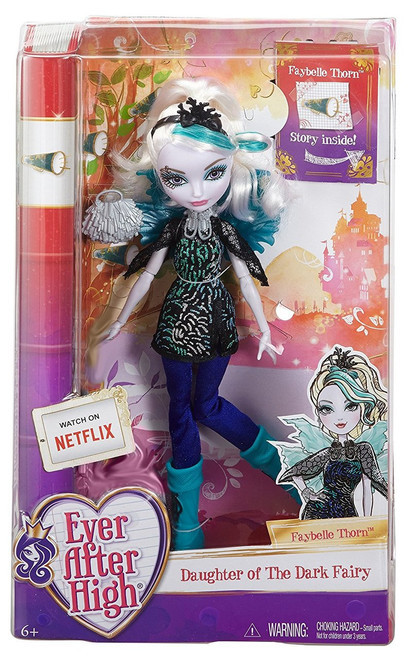 Ever After High Faybelle Thorn Doll - CDH56 At Ever After High, the teenage sons and daughters of the most famous fairytales turn tradition on its crown when some decide to Choose Their Own Ever Afters! The Ever After Royals -- like Faybelle Thorn, daughter of the Dark Fairy from Sleeping Beauty -- are excited to follow their prewritten destinies She's ready to take the lead of the cheerleading squad in a sporty blue and sliver glitter-print dress and solid blue leggings Wicked cool accessories include a necklace, silvery bracelet ring, thorn branch headpiece and pompom-inspired purse Turquoise high-top sneakers and her iridescent fairy wings are really something to cheer about