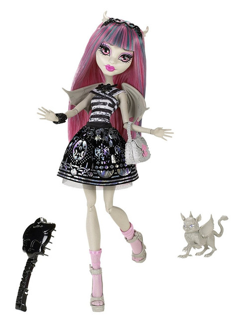 The ghouls from Monster High are freakishly fabulous Rochelle Goyle is the daughter of The Gargoyles Doll is fully articulated so she can be posed in many different ways Includes doll, pet gargoyle griffin named Roux, diary, doll stand, brush, and accessory Collect all your favorite Monster High dolls