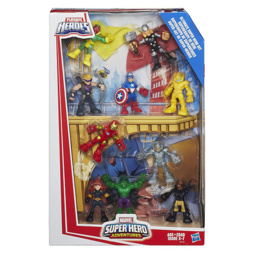 Your little one can imagine saving the day with one of their favorite Marvel Super Hero figures! Featuring some of Marvel's iconic characters, the Captain America, Marvel's Hawkeye, Thor, Hulk, Nick Fury, Marvel's Black Widow, Marvel's Vision, Iron Man, Ultron and Ultron's Sentry figures are sized right for little hands. Featuring simple articulation, each figure can be posed to fit any mission your little one can imagine. Playtime with the Ultimate Super Hero Set can take pretending to save the day with the Avengers to an epic level! Marvel products are produced by Hasbro under license from Marvel Characters B.V. Hasbro, Playskool, and all related terms are trademarks of Hasbro.