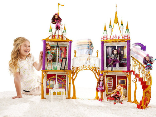 Ever After High 2-in-1 Castle Playset from Bentzen's Emporium  Open this book to reveal a play set that transforms from fairytale castle to Ever After High school The 35' x 35' turreted structure features two stories, four character-themed rooms, a gliding bridge and a winding staircase that lets dolls (sold separately) ride all the way down On the first floor are a surprise vanity inspired by Holly O'Hair and a living room with sofa themed for Apple White The second floor is home to a closet perfect for Ashlynn Ella and a bathroom with royal throne designed for Raven Queen Each room transforms from a castle theme to a high school setting with the flip of a wall