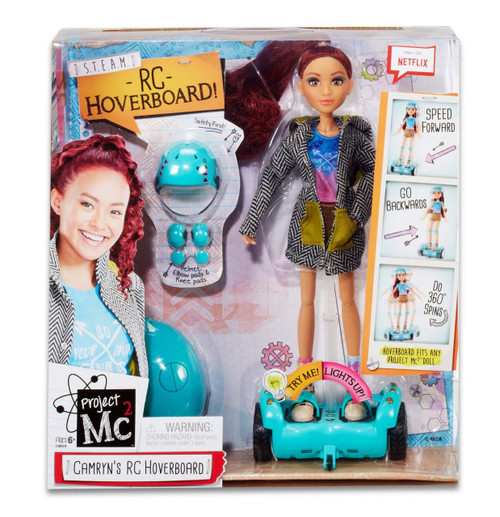 Get ready to speed around with Camryn Coyle and her super cool hover board, just like in the Netflix Original Series, Project Mc2! Hover board is controlled by a remote control and can speed forwards, backwards and spin 360 degrees Premium, articulated Camryn doll, dressed in a totally cool outfit that reflects her Includes with safety gear for Camryn doll - helmet, 2 elbow pads, and 2 knee pads Hover board fits any Project Mc2 doll