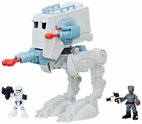 FIGHT THE EMPIRE - The Resistance needs your child's help to fight the Galactic Empire's First Order by helping Finn to take command of this fearsome AT-ST and its driver ALL INCLUDED - Imperial AT-ST vehicle, Finn in First Order disguise with black and white blaster accessory, First Order uniformed stormtrooper figure with blaster, 1 additional set of power-up arms and 3 projectiles FOR AGES 3-7 - this toy is recommended for use by children ages 3-7. Not for children under 3 years of age. Some adult assembly is required LAUNCH PROJECTILES - this impressive AT-ST has the ability to shoot giant blasts from its front and side canons! Press the blue button on the AT-ST's back to change the direction of fire POWER UP - both Finn and the AT-ST have great strengths, so it's up to your child to decide who will rule the galaxy!