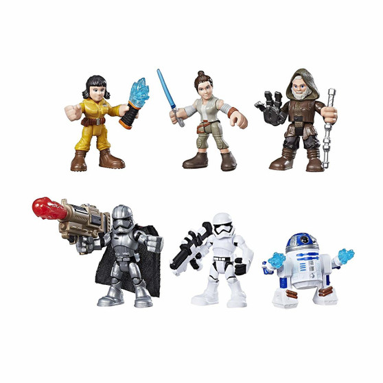 Features 6 characters from Star Wars: The Last Jedi Figures have power up arm feature Sized right for young Jedi Ages 3 to 7 years Includes Rey (Resistance Outfit), Rose (Resistance Tech Outfit), Luke Skywalker, R2-D2, Captain Phasma, and First Order Stormtrooper figures with power up arms, and 1 projectile.