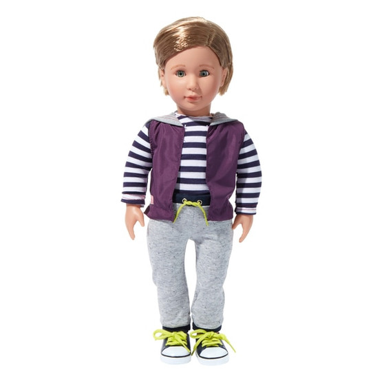 Open and shut eyes Rooted blond hair Dimensions: 45cm Contents: A doll with a pair of underwear, a top, a vest, a pair of pants and a pair of shoes Contents: A doll, a pair of underwear, a top, a vest, a pair of pants and a pair of shoes Batteries Not Required