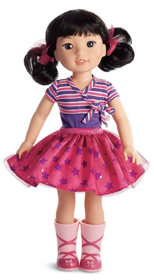 "Emerson loves the spotlight-and the spotlight loves her right back She loves to make her friends smile with funny jokes, original dance routines, and show-stopping songs This 14.5"" (36.8 cm) doll is sized just right for younger girls She has dark-brown eyes and black hair in curly pigtails Collect all of your favorite welliewishers!"