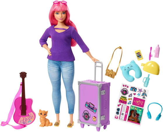 Send curious minds around the world with Daisy doll and a travel-themed set inspired by Barbie Dreamhouse Adventures that comes with a kitten for a travel companion, working luggage, guitar and 9 cool accessories Daisy doll's purple and silvery suitcase has a collapsible handle and opens and closes for packing and unpacking fun - decorate it with the included sheet of stickers (like musical notes)  Her acoustic guitar hits all the right notes with cool, colourful decals and a pink strap Iconic travel items included in the set are decorated with bright colours and fun decals - there's a neck pillow, water bottle, toothbrush, toothpaste, headphones, camera and cell phone Daisy doll is ready to visit places near and far wearing a purple top, denim pants and trendy shoes to match - a pair of pink sunglasses looks extra fabulous with her long pink hair With so many fun travel pieces, this Barbie set makes a ideal gift for young explorers and fans of the series because when a girl plays with Barbie, she imagines everything she can become