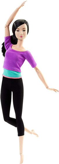 """With Barbie Made to Move doll, you can do anything! Capture the action with the ability to move and pose in ways -- guided by you -- that mimic realistic action -- from riding a bicycle and playing a guitar to doing gymnastic bends and sitting cross-legged to owning a runway or taking selfies! Barbie Made to Move dolls have 22 """"joints"""" -- in the neck, upper arms, elbows, wrists, torso, hips, upper legs, knees AND ankles -- for an incredible range of motion! Sleek modern fashions are perfect for on-the-move fun."""