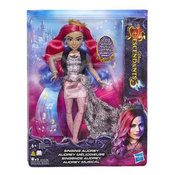 "DISNEY DESCENDANTS AUDREY DOLL: Includes Singing Audrey doll SINGING DOLL WITH BATTERIES INCLUDED: Audrey sings ""Queen of Mean"" from Disney's Descendants 3 movie and includes batteries FASHION DOLL: Audrey doll wears a removable outfit, tiara, and shoes DISNEY'S DESCENDANTS 3 MOVIE: This Disney toy is inspired by Audrey from Disney's Descendants 3 TOY FOR 6 YEAR OLDS AND UP: This Descendants singing doll is an amazing birthday gift or holiday present for kids"