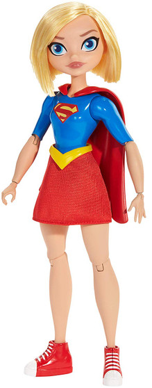 """Supergirl doll, a.k.a Kara Danvers, comes with two complete looks -transform her from super-teen to Super Hero! Fans can play out every day Super Hero High stories, or swoop into action-Packed play to save the day with this doll and 6 removable accessories. She comes dressed in her school outfit, ready to rock in her ripped jeans, boots, belt, and motor jacket. When duty calls, change Kara Danvers into her iconic Supergirl uniform complete with a red cape, skirt, belt, and sneakers. For storytelling fun, she also comes with her signature guitar and skateboard. Doll (approx.10.5-in) can stand alone and has bendable """"joints"""" (at the elbows, wrists, and knees) for action-Packed posing and play. For ages 6 and up"""