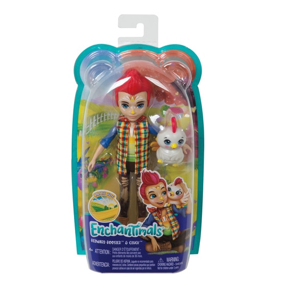 Includes doll wearing fashions and accessories and animal figure Discover the magic of friendship and nature with these lovable Enchantimals characters! Redward Rooster doll (6-inch) comes with Cluck rooster - they're always together, and they look alike, too Little ones will love playing out the special bond these best friends share He and Cluck rooster have fantastical finishes to encourage imaginative play For fashion fun, Redward Rooster doll struts a farm fresh outfit with a removable plaid jacket, t-shirt, jeans, bandana, and boots Colours and decorations may vary