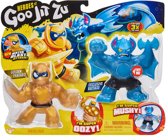 """The Heroes of Goo Jit Zu are back and ready to launch a Double-Edge attack! Just as squishy and stretchy as before but now with their Aqua-blast energy and weapon-morphing arms, they are power-packed to smash the enemy! These Super Hero action figures are like no other! Every character has a unique goo filling with a different texture and feel. The Golden Pantaro VS Battaxe Versus Pack contains 2 Exclusive Goo Jit Zu Action Figures so they can battle each other! This Versus Pack contains a special Golden Pantaro Action Figure only available in this pack and an exclusive Super Mushy Battaxe Action Figure. Squeeze their different fillings! Not only does the Golden Hero of Goo Jit Zu have a weapon fist to battle with, but they have a """"Water Blast Attack"""" feature! Fill Pantaro's head with water, aim and fire water! These toys stretch up to three times their size and are more durable that ever before!"""