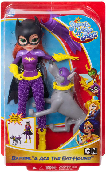 """Unleash your inner hero with this Batgirl doll and her trusty sidekick, Ace the Bat-Hound! Batgirl doll (~10 in.) comes wearing her iconic Super Hero outfit with removable accessories. Featuring a strong build and 11 bendable """"joints,"""" she can stand alone for powerful posing and action-Packed play. Ace the Bat-Hound is ready to sniff out crime with his cape, collar, and head that moves up and down. Use the leash to help Ace the Bat-Hound """"pull"""" Batgirl along in her rollerblades with wheels that really roll."""