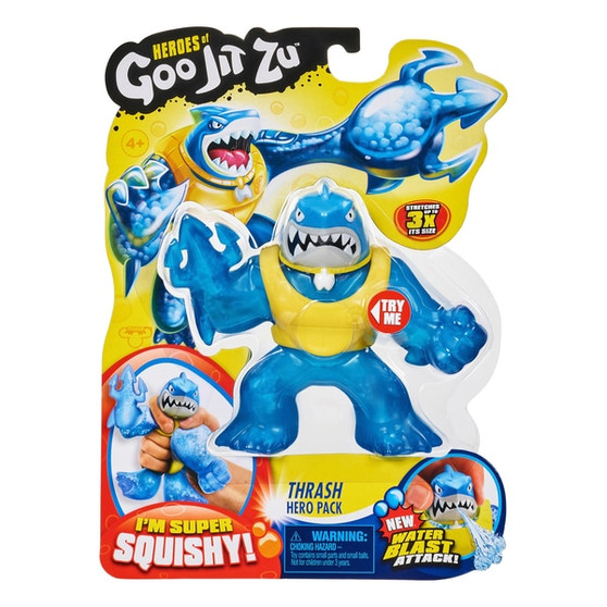 """Contents: A Heroes of Goo Jit Zu Thrash The Shark Figure Heroes of Goo Jit Zu are back to battle. All new super squishy, stretchy heroes now with new fillings and new weapon fists Thrash the Shark is Super Squishy. Squeeze his body and see his water bead, super squishy filling bulge out Now with new """"Water Blast Attack""""! Fill Thrash's head with water, aim and fire for some water battling action Heroes of Goo Jit Zu provide kids with a new GOOEY way to play with action heroes, with no mess! With the new range, they are now more durable than ever before You can stretch and squish your Goo Jit Zu Heroes and they will always come back to their original shape"""