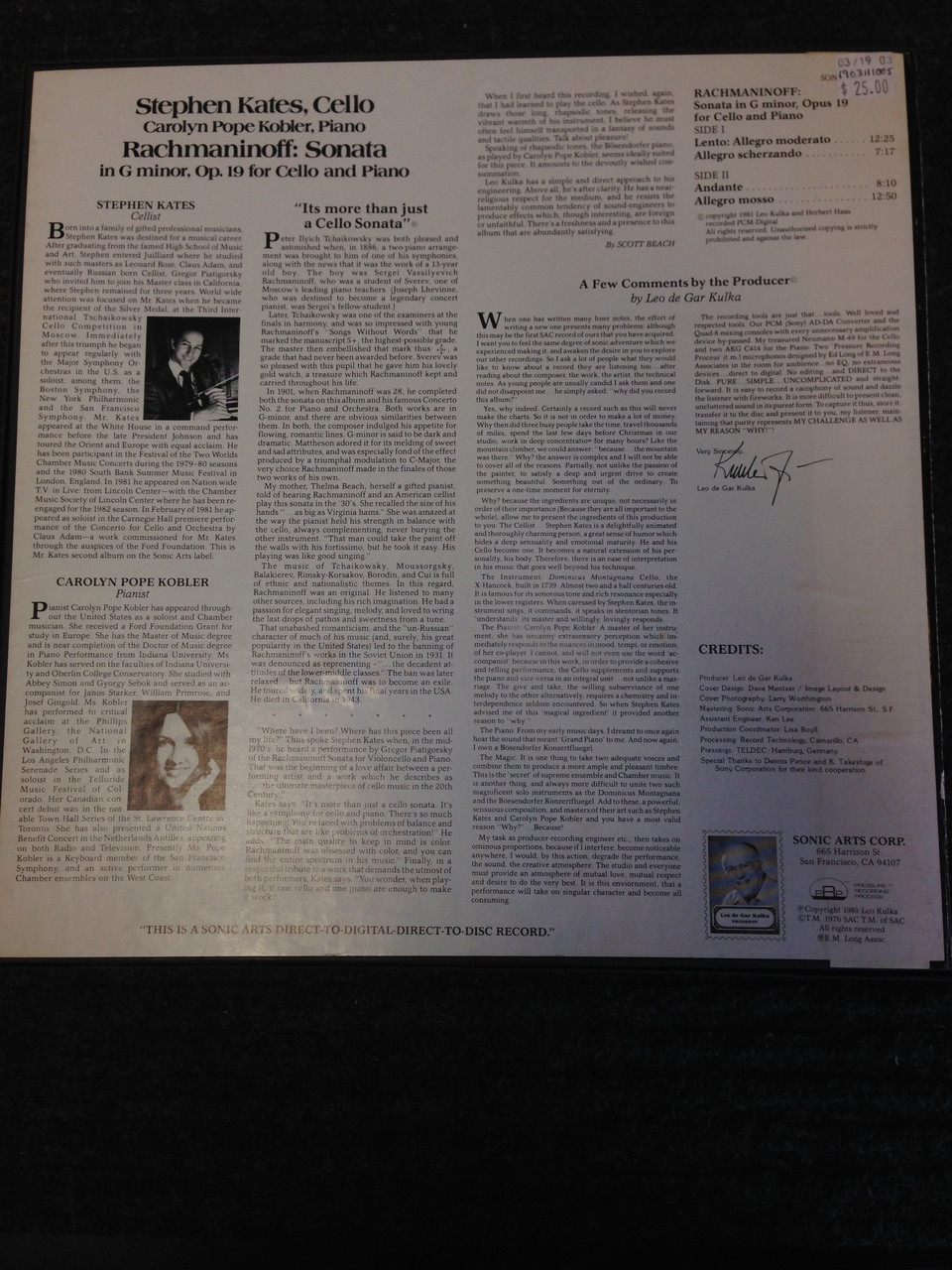 Rachmaninoff Sonat in G Kates Kobler Sonic Arts 26 LP