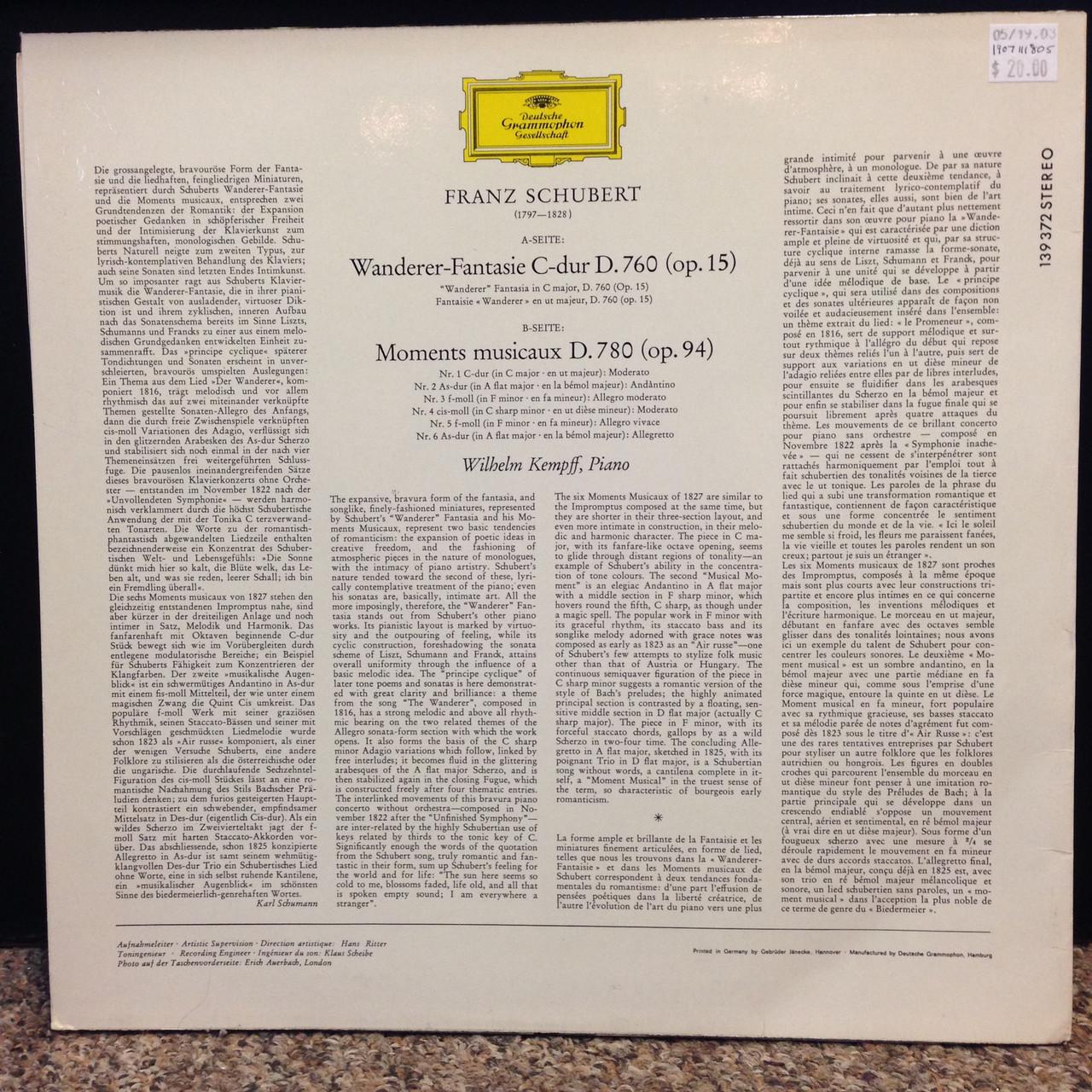 Schubert, Kempff-Piano LP