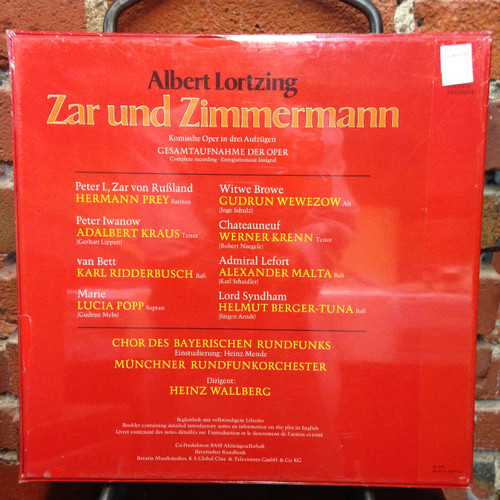 Albert Lortzing Zar &  Zimmerman Wallberg Sealed 3 LPs