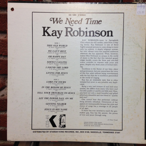Kay Robinson We Need Time King LP