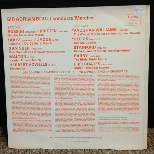 Marches by Coats, Delius, Etc. London PO and New Philharmonia Orchestra Boult LP