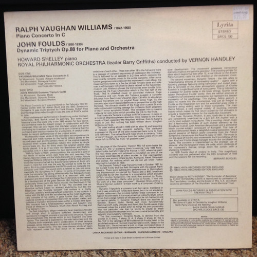 Williams Piano Concerto & Foulds Dynamic Triptych Royal PO Handley LP