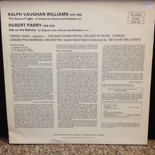 Williams Sons of Light & Parry Ode to Nativity Bach Choir & London PO Willcocks LP