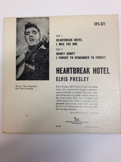 "Elvis Presley Heartbreak Hotel 7"" EP PS Dog On Top"
