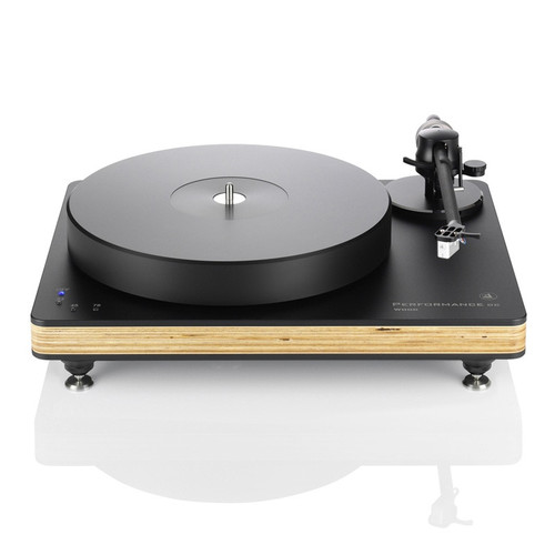 Shown Clearaudio Performance DC Wood Turntable Black with Light Wood and Black Tracer Tonearm