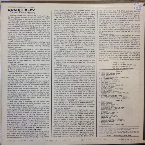 Don Shirley Pianist Extraordinary White Label Promo LP