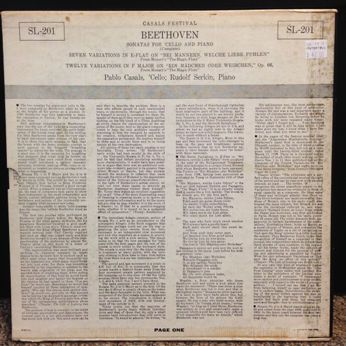 Beethoven Sonatas for Cello & Piano, set of 3 LP