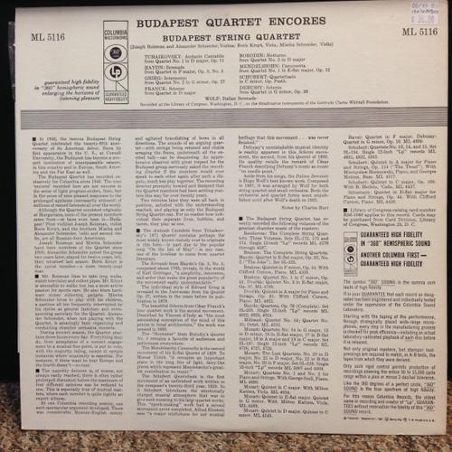 Budapest Quartet Encore LP