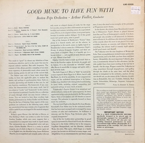Fiedler, Good Music to Have Fun With LSC-2235 LP