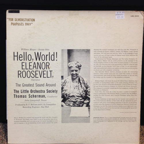 Eleanor Roosevelt-Hello, World LSC-2332 LP