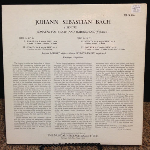 Bach, Sonatas for Violin & Harpsichord LP