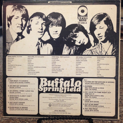 Buffalo Springfield Self Titled For What It's Worth Mono LP