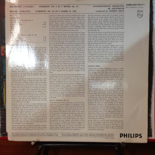 BEETHOVEN - SYMPHONY NO 5, MOZART 34 SZELL LP