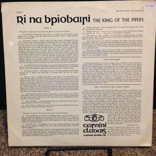 Leo Rowsome Ri Na Bpiobairi King Of the Pipers Original Ireland LP