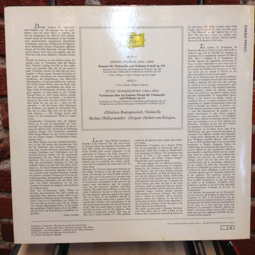 Dvorak Cello Concerto Tchaikovosky Variations Rostropovich Karajan DGG LP