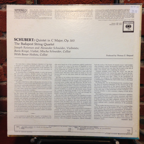 Schubert String Quintet in C The Budapest Quartet/Heifetz LP