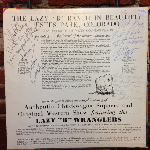 Lazy B Wranglers Sing Songs Of The Old West Signed LP