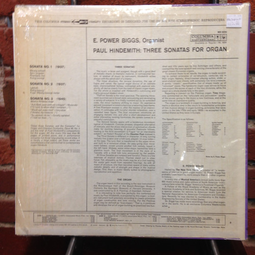 Hindemith 3 Sonatas for Organ Power Biggs 6-eye  LP
