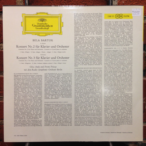Bartok Piano Concert No.2 & 3     LP