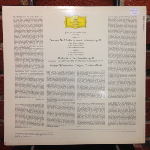Brahms Serenade No.2 Academic Festival Overture Op.80 LP