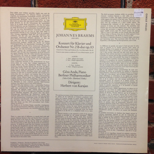 Brahms Piano Concerto No. 2 in B flat major LP