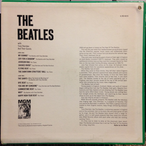 Beatles With Tony Sheridan & Guests MGM E4215 LP