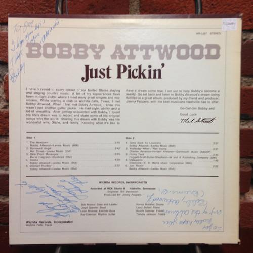 Bobby Attwood Juat Pickin Signed LP