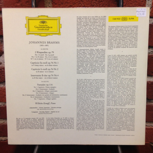 Brahms Solo Piano Music Kempff   Tulip   LP