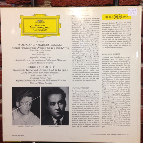Richter plays Piano Concertos by Mozart and Prokofieff   LP