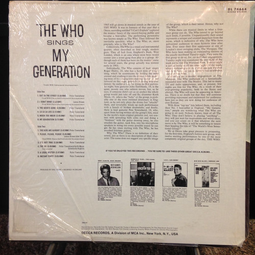 Who My Generation Original Stereo Decca DL 74664 LP