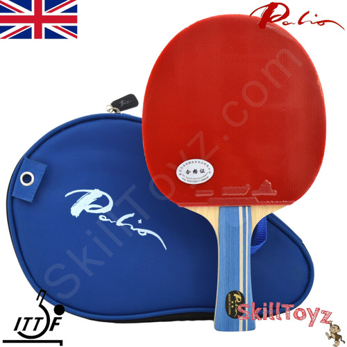 Palio 2 Star Expert Table Tennis Bat blue handle with case and FREE rubber protectors