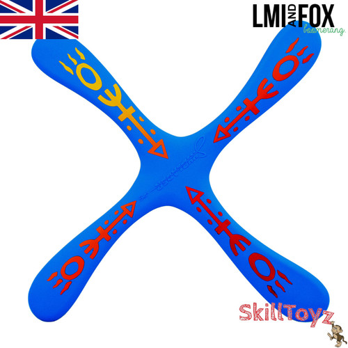LMI and Fox Boomerangs Skyblader Float is a lovely fun beginners boomerang. Great for recreational use over the park or at the beach. RIGHT HANDED. Colour: blue